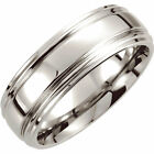 New 8mm Dura Cobalt® Double Ridged Slightly Domed Wedding Band - Fashion Jewelry