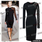 Womens Black Jersey Lace Stretch Bodycon Pencil Midi Polka Dot Lucia Dresses 124