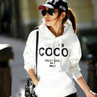 Fashion Womens COCO Print Hoodie Sweatshirt Coat Jacket Outwear Tracksuit Fleece