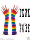 Women Lady Rock Rainbow Stripe Zebra Spider Long Arm Warmer Fingerless Gloves