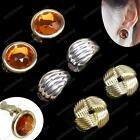 CLIP ON 2cm big RETRO EARRINGS round faceted faux amber/gold knot/silver huggie