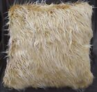 Fm723a Light Brown Beige Shiny Faux Cow Long Fur Pillow/Cushion Cover*Custom Siz