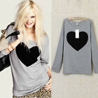Casual Women Cotton Love Heart Printed Tops Blouse Crew Neck Long Sleeve T-shirt