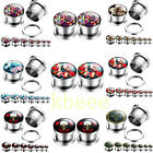 Punk Surgical Steel Ghost Peony Flower Screw Ear Plugs Tunnels Stretcher Gauges