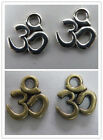"120pcs Tibetan Silver,Bronze Color ""om"" symbol Charms 11x9mm F58"