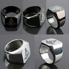 Men's Freemasonry Free Mason Masonic Stainless Steel Finger Ring Black/Silver