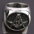 Men's Round Black Freemasonry Masonic Stainless Steel Finger Ring Punk Jewelry