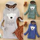 Lovely New Bear Bowtie Letter Womens Hoodies Outwear Sweat Sweatshirt Top Pocket