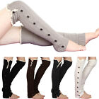 Womens Crochet Lace Flat Button Down Braid Leg Knit Warmers Boot Socks High Knee