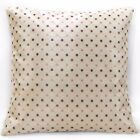 vc02a Purple Pink Silver Checker Dot on Beige Thick Cotton Blend Cushion Cover