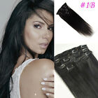 """15""""18""""20""""22"""" AAAA Grade Straight Clip In Remy Human Hair Extensions 70G 80G #1B"""