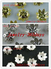 300 Gold/Silver/Dull Silver Plated Flower Bead Caps 9x4mm I24 I25 I37
