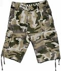 BNWT: MENS MILITARY-STYLE 100% COTTON CAMOUFLAGE CARGO SHORTS SIZES: 30 - 44