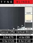 6 VERTICAL BLINDS ONLY £149 (Headrail & slats) white cream black made to measure