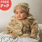 Baby Girls Mink Faux Fur Suri Style Coat Warm Winter Cream Jacket & Hat 0 - 24m