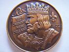 1973 Rex KINGS+QUEENS OF FANTASY+FACT Antique Bronze Mardi Gras Doubloon-Dark
