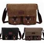 Men's Canvas Vintage Leather Messenger Shoulder Working Hiking Travel Laptop Bag
