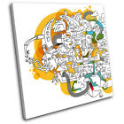 Funky Abstract Illustration SINGLE CANVAS WALL ART Picture Print VA