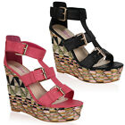 Ladies Dolcis Strappy High Platform Wedged Heel Womens Sandals Shoes Size 3-8