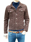Mens NEW Jacket Coat Brown Corduroy Denim short indie mod retro vtg Cord s m xl