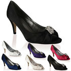 Ladies Satin Diamante Peep Toe Womens Stiletto Heeled Prom Court Shoes Size 3-8
