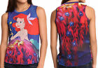 Disney Little Mermaid Ariel Under The Sea Chiffon Back Blouse Shirt Top Adult