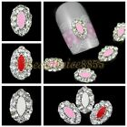 10pcs 6x9mm Clear Rhinestone 3D Silver Plate Alloy Decoration Nail Art DIY Decal