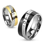 "316L Stainless Steel ""You are always in my heart"" CZ Wedding Band Ring Size 5-13"