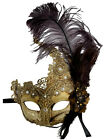 Feather Venetian Masquerade Costume Party Wedding Gold Ecru or Gray Lace Mask