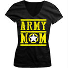 Army Mom - Star Distressed USA Armed Forces Troops Girls Junior V-Neck T-Shirt