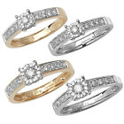 9ct Gold Diamond Cluster Ring with Diamond Set Shoulders - Finger Size H to Q