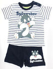 Infant Boys Baby Looney Tunes Navy & White Sylvster T-Shirt and Shorts Set