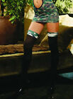 Opaque Thigh Hi Stockings With Army Camouflage Top