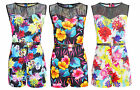 Womens Ladies New Floral Digital Playsuit Mesh Netted Print Belted All in One