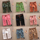 Women/Lady Candy Color Linen Shorts Capri Cropped Pants Trousers Turn Up Casual