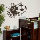 Large Kids Football Bursting Through The Wall Wall Sticker Art Decor Boys SM15