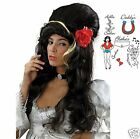 Black Beehive 50s Wig Amy Winehouse Style Wig Tattoos Fancy Dress Costume WIG