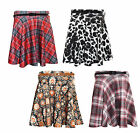 Womens Ladies New Tartan Leopard Animal Skater Flared Belted Stretch Skirt Print