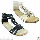 LADIES WOMENS GLADIATOR  STRAPPY DIAMANTES WEDGE HOLIDAY BEACH SANDALS SHOE SIZE