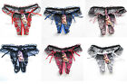 Women's Sexy Lace Crotch Thongs G-string V-string Panties Lingerie Underwear