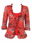 NEW STUNNING EX M&S PER UNA RED PRINTED RUFFLE 3/4 TOP - RRP £29 - SIZES 8 - 20