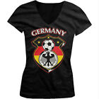 Germany World Cup Soccer Flag Crest German Pride Girls Junior V-Neck T-Shirt