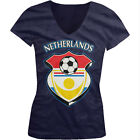 Netherlands World Cup Soccer Flag Crest Dutch Pride Girls Junior V-Neck T-Shirt