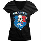 France World Cup Soccer Flag Crest French Pride Girls Junior V-Neck T-Shirt