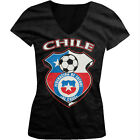 Chile World Cup Soccer Flag Crest Chilean Pride Girls Junior V-Neck T-Shirt
