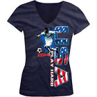 USA Play Hard World Cup 2014 American Soccer Player Girls Junior V-Neck T-Shirt