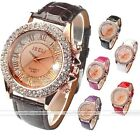 Womens Crystal Decorated Girl's Champagne Analog Quartz Wrist Watch,Rome Number
