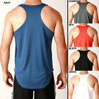 Mens POLY RACERBACK DRY FIT Lifting Gym Training Singlet Weights Stringer Tank
