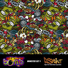 StickerBomb Colour Sticker Decal Wrap Multipurpose Monster Theme V.Large