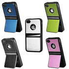 New Stand Case Cover Hard Skins For Iphone 4 4s + Screen Protector + Stylus Pen